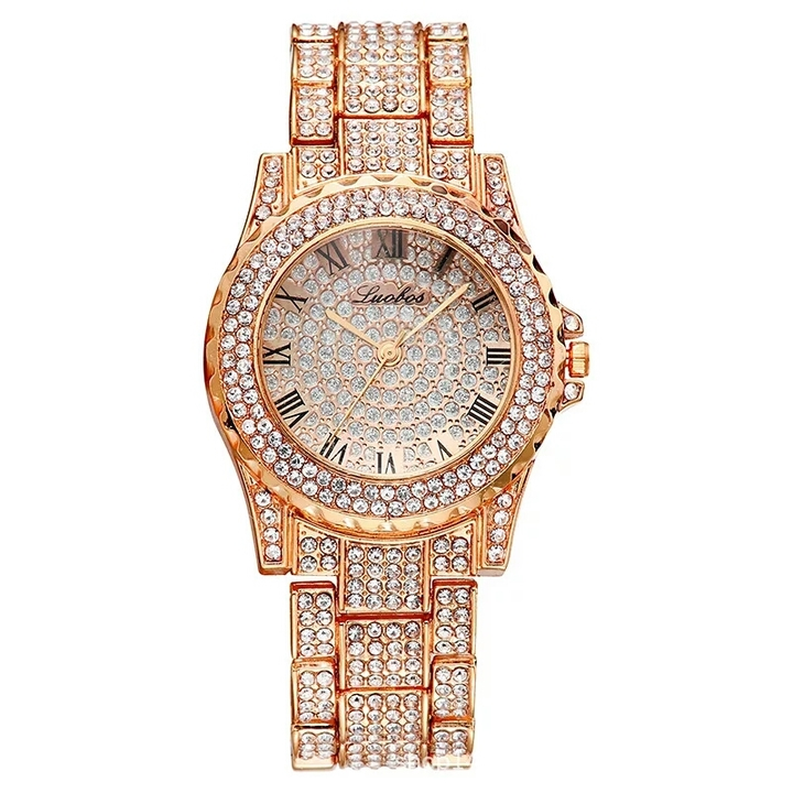 Luxury Full Diamond Quartz Watch For Women Hip Hop Gold Band Mens Watches Iced Out  Wristwatch Clock rose gold one size