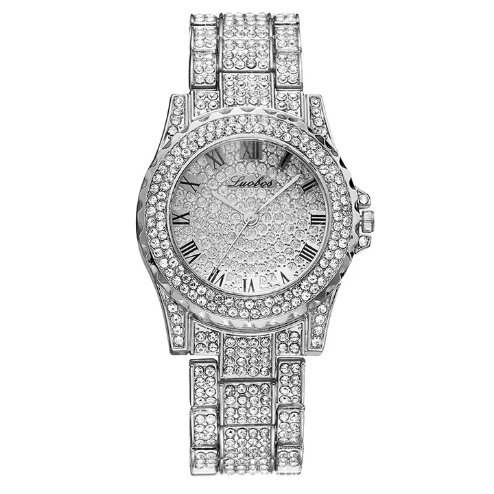 Luxury Full Diamond Quartz Watch For Women Hip Hop Gold Band Mens Watches Iced Out  Wristwatch Clock silver one size