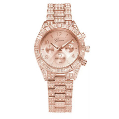 Womens Rhinestone Stainless Steel Bracelet Geneva  wristwatches Female Clock rose gold one size