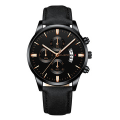 Relogio masculino watche men Fashion Sport Stainless Steel Case Leather Band  Quartz Business watch A one size