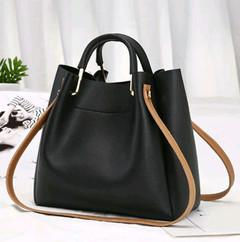 Crossbody Shoulder Women Solid Zipper Messenger Simple PU Leather Large Bucket Bag Black one size