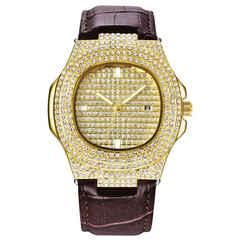 Men Wristwatch Bling Fully Rhinestone Quartz Iced Out Gold Silver Diamond Men's Watche  Male Clock GD one size