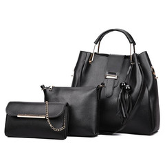 2019 Pure-color Fashion Wooden Beads, Tassels and Son Bag Three-piece Set of  Handbag Shoulder Bag Black one set