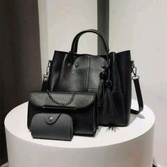 Set of 3 Composite Bag Casual Women Bucket Bag Large Capacity Handbag Simple Tassel Shoulder Bag PU Black one set