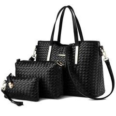 Women's Shoulder Bag Fashion Handbag Female Messenger Bag Woven Pay One Get Three-piece Set Black one set