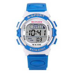 Waterproof Children Boys Digital LED Sports Watch Kids Alarm Date Watch Gift kids New Hot Sale Blue one size