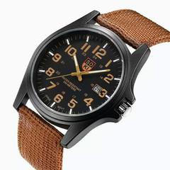 New Fashion Men Weave Nylon Band Round Dial Calendar Analog Quartz Sport Wrist Watch Brown one size