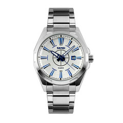 New Classic Men Business Stainless Steel Band Quartz Analog Display Wrist Watch Gift Blue Silver Case one size