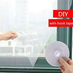 Mesh Screen Window with Hook Tape Summer Insect Bug Control  Self-adhesive Anti Mosquito Mesh Screen White 150*130cm