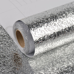Kitchen Stove Aluminum Foil Oil-proof Anti-fouling High-temperature Selfadhesive Croppable Wallpaper A 100cm*40cm