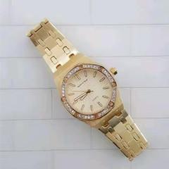 Ladies Fashion Quartz Watch,Polished Stainless Steel Watches For Women Watch Rhinestone Bezel Watch Golden one size