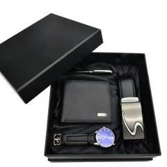 Men's Watch Gifts Set Belt Wallet Pen Men Watches For Boyfriend Valentine's Day Gift Luxury Black one size