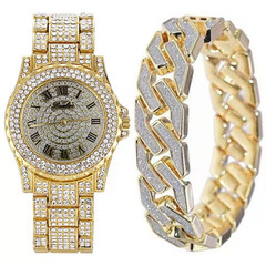 Men Bracelets Gold Color Iced Out Crystal Miami Cuban Chain Gold Silver Men watch +Bracelet set Gold one size