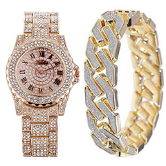 Men Bracelets Gold Color Iced Out Crystal Miami Cuban Chain Gold Silver Men watch +Bracelet set Rose Gold one size