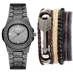 ICE-Out Bling Diamond Watch+Men bracelet 4pcs Arrow leather bracelet For Men Hip Hop Wristwatch Black one size