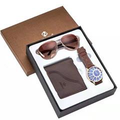 Watch Gift Set Box Men Wallets Watch and Sunglasses Mens Watches Top Brand Strap Quartz Wristwatch Brown Sets One Set