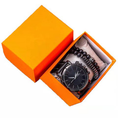 Mens Bussiness Watches + Bracelets Sets For Men Fashion Watches Top Brand Set With Box Gift Black one set