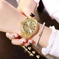 Hot Women Ladies Bling Diamonds Crystal Strap Watch Fashion Luxury Stainless Steel Analog Watches Golden one size