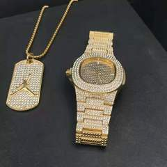 Luxury Gold hip hop jewelry stylish watch & Necklace Combo Set Watch Diamond Men  chain necklace Gold One Set
