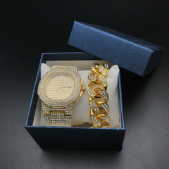 Hip Hop Men Bracelets Gold Iced Out Crystal Miami Cuban Chain  watch +Bracelet set Hip Hop King New gold one set