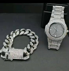 Hip Hop Men Bracelets Gold Iced Out Crystal Miami Cuban Chain  watch +Bracelet set Hip Hop King New silver one set