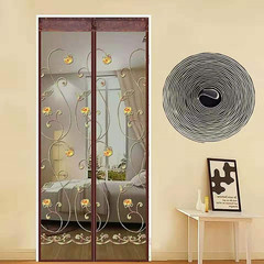 Embroidery Silent Anti Mosquito Net Magnetic Close Door Curtain Mesh Screen Soft Ventilate Tulle Coffee 70*200cm