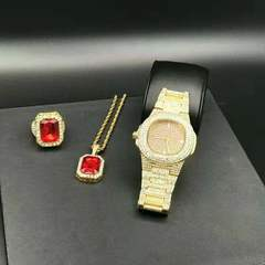 Men Luxury Hip Hop Diamond Watch & Red Ruby Necklace Combo Set diamond watch  Men Jewelry Gold one set