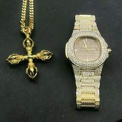 Men Hip Hop Iced Out  Rhinestone Watch & Karma-vajra cross pendant Necklace Miami Cuban Set Jewerly gold one set