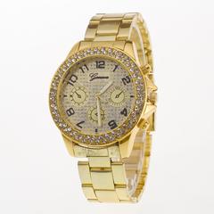 Mens Women Sport Watch Gold Quartz Watches Three Rows  Crystal Luxury Bracelets 2Set Jewelry Gold Watch one size
