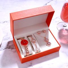 5pcs/set Luxury Women Watches Magnetic Starry  Bracelet Fashion Ladies Wrist Watch Jewelry Set red one set