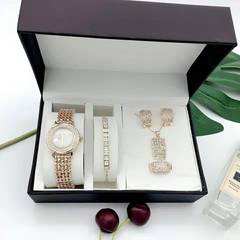New Rose Gold Wristwatch Women 5pcs Fashion Zircon Bracelets Necklace Ring Earrings With Box Set gold one set