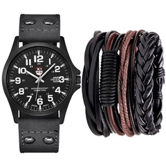 Luxury Fashion Casual man Watches Bracelet +5Pcs Leather Bracelet one set black one set