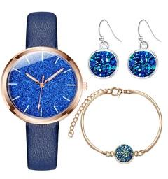 Glitter Powder Watch Women Ladies Dress Quartz Wristwatch Leather Casual Watches+Bracelet+Earrings blue one set