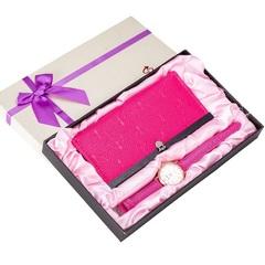 Watch Gift Set Box Women Wallets Watch Top Brand Luxury Quartz Lady Valentine's Day Gifts pink one set