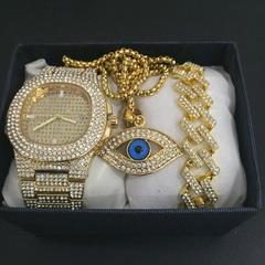Hip Hop Men Bracelets Gold  Ice Cream Crystal Miami Cuban Chain  Men Watch + Bracelet Set Hip Hop gold one set