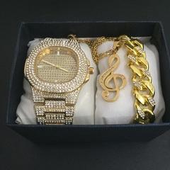 Hip Hop Men Bracelets Gold  Ice Cream Crystal Miami Cuban Chain  Men Watch + Bracelet Set Hip Hop Coffe one set