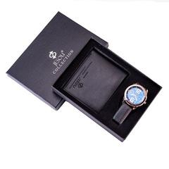 Mens Watches Luxury Watch Card Holder Wallet Watches Men Gift Set Watch for Dad Husband Boy friend black one size