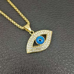 Stainless Steel iced out blue eye of God pendant necklaces with zircon fashion chain jewelry gold one set