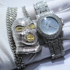 Men Hip Hop Iced Out Simulated CZ Zircon Watch Amp GoonSki Mask Pendant Necklace set silver one set