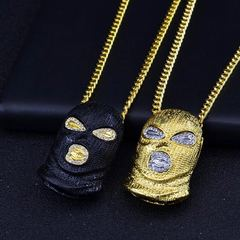 Punk Style Personalized Head Masked Big Pendant Necklaces Hip Hop Jewelry Steampunk Gold Long Chain black one set