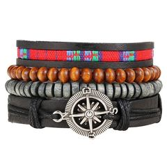 Jewelry Bracelet  Fashion Leather Anchor Bracelets & bangle Men t Multilayer Bead Vintage Charm Gift A one set