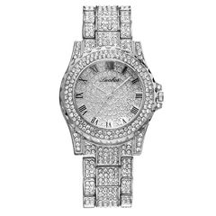Luxury Full Diamonds Watch For Women Iced Out Quartz Watch Male Hip Hop  Alloy Strap Wristwatch Gift silver one size