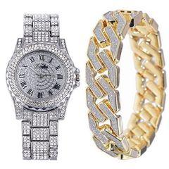 Men Bling Bracelets+Luxury Full Diamonds Watch  Cuban Chain Gold Silver Men watch +Bracelet set silver one set