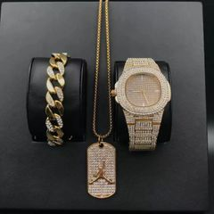 [Valentine Gifts] Men Diamond  Watch Hip Hop Jewelry & Bracelet & Necklace Combo Set Basketball gold one set