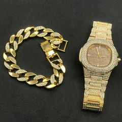 [Valentine Gifts] Luxury Men Diamond Watch+Diamond Bracelet Luxury Fashion Gold Men Ice Out Cuban Gold 2 one set