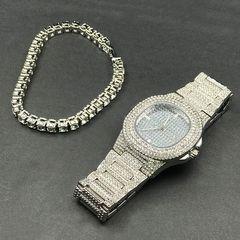 Luxury Men Diamond Watch+Diamond Bracelet Luxury Fashion Gold Silver Men Ice Out Cuban Watch one set Silver 1 one set