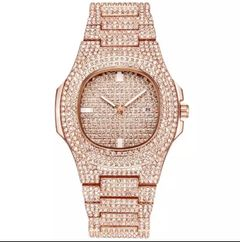 Luxury Men Watch Fashion Diamond Automatic Date Quartz Watch Men Gold Stainless Steel Hip Hop Watche rose gold one size