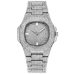 Luxury Men Watch Fashion Diamond Automatic Date Quartz Watch Men Gold Stainless Steel Hip Hop Watche silver one size