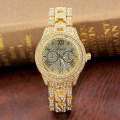 [Valentine Gifts] Men Hip Hop Full Iced Out Lab CZ AAA Watch & Bracelet &  Square Necklace +Gift Box gold watch one size