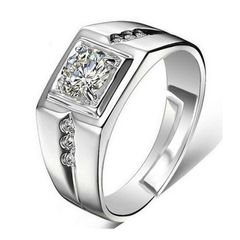 Open Mouth Round Zirconia Square Shape Rings Prong Copper Material Cocktail Rings For Men silver one size